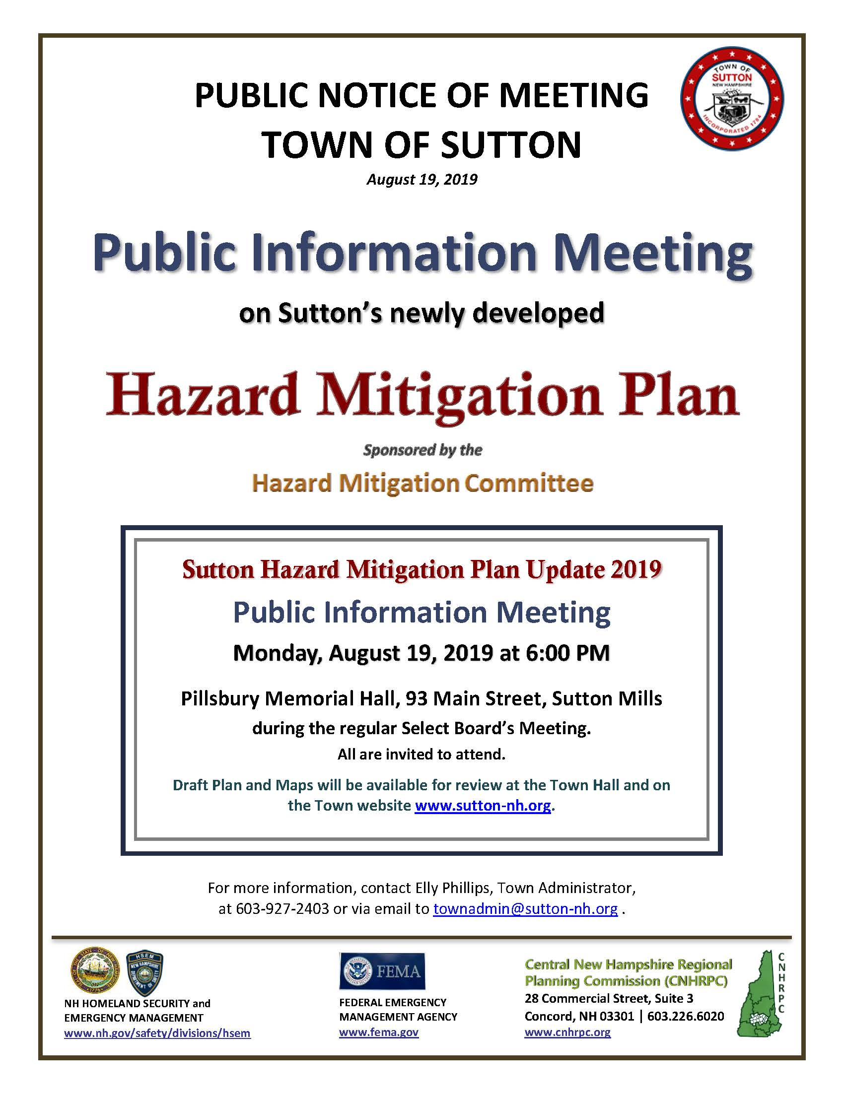 Hazard Mitigation Plan Public Information Meeting @ Pillsbury Memorial Hall | Bradford | New Hampshire | United States