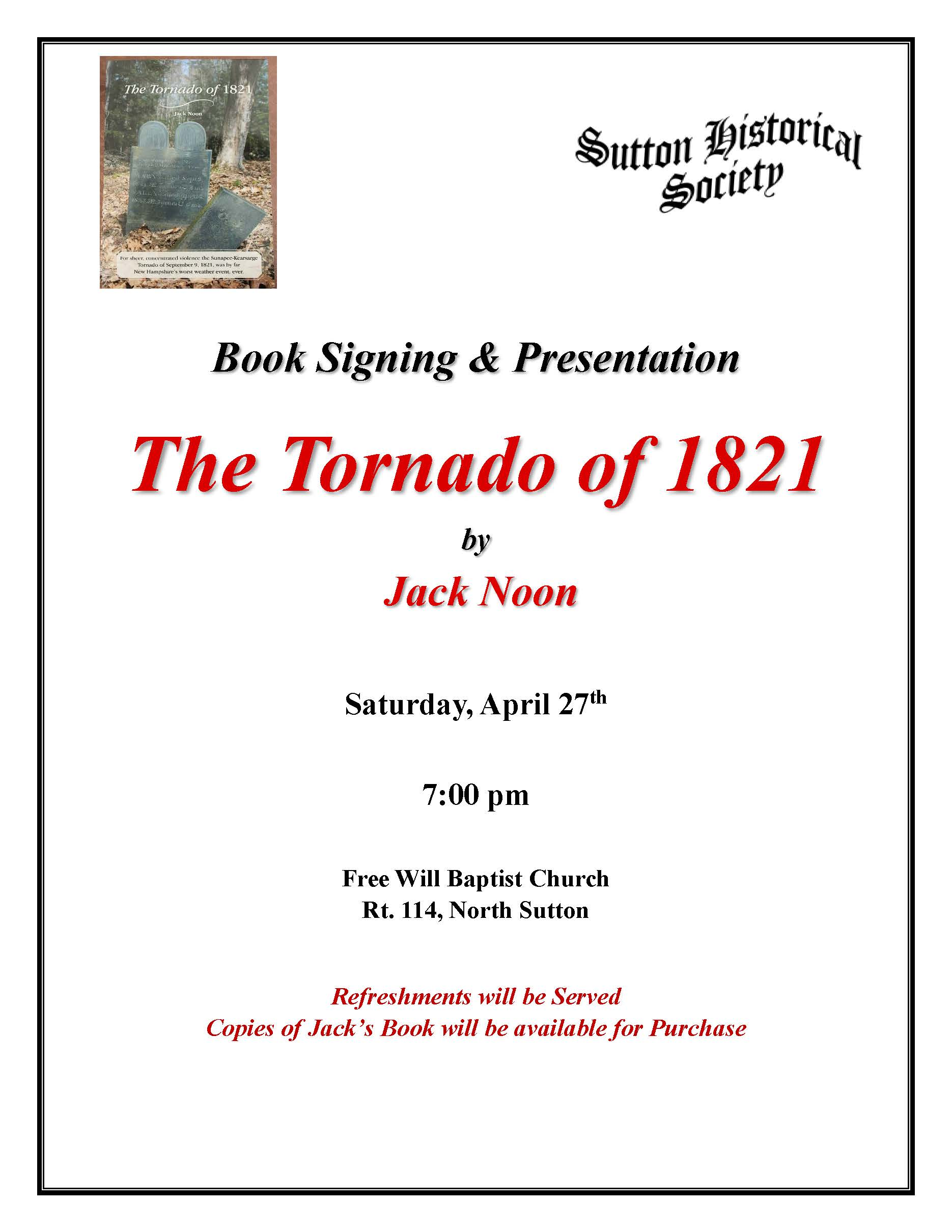 Historical Society -- Book Signing and presentation @ Free Will Baptist Church | Sutton | New Hampshire | United States