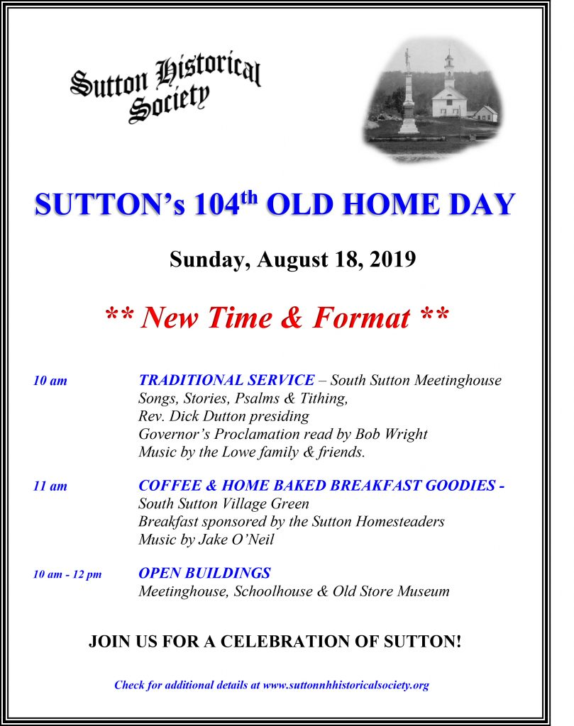 2019 Sutton Old Home Day @ South Sutton Meetinghouse | Sutton | New Hampshire | United States