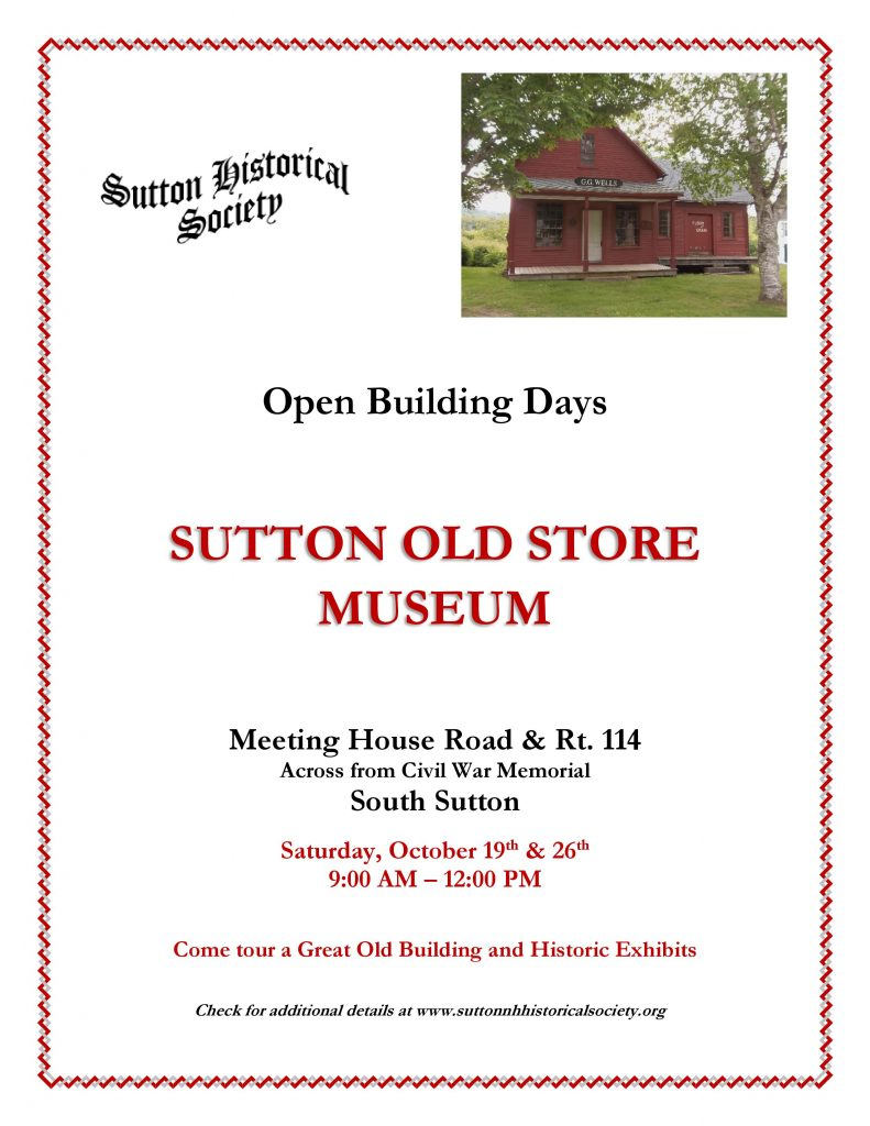 Sutton Historical Society Open Building Days @ Sutton Old Store Museum | Sutton | New Hampshire | United States