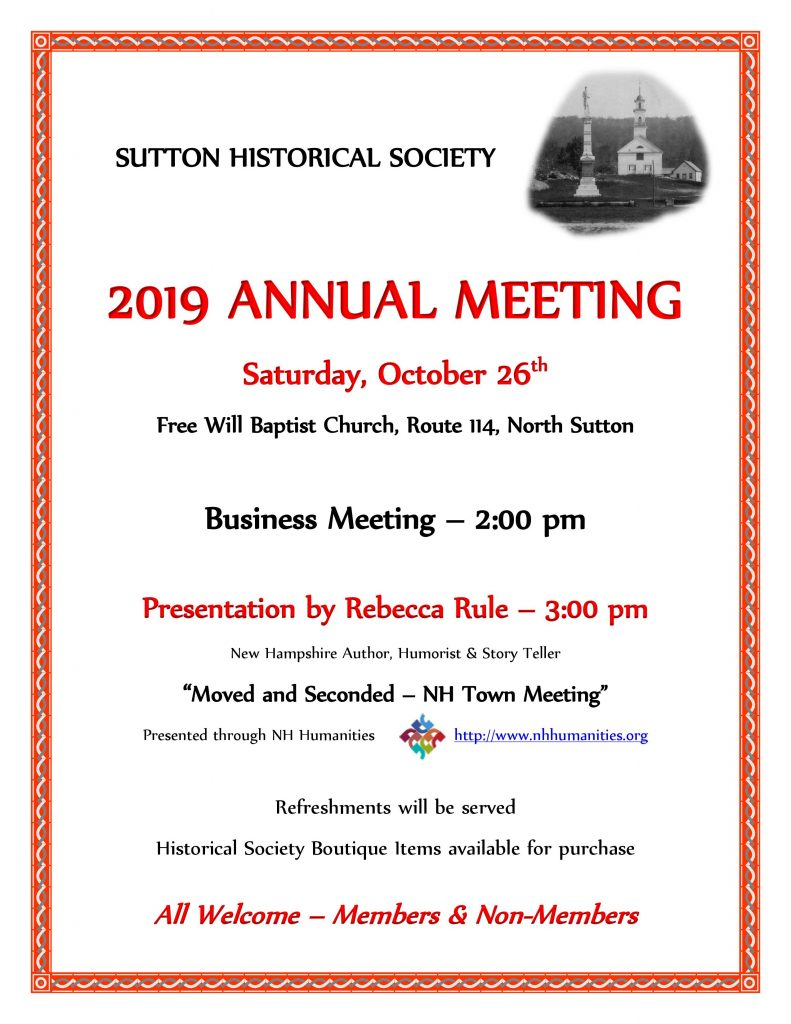 SHS Annual Meeting Oct 26th 2:00 PM at the Free Will Baptist Church, North Sutton