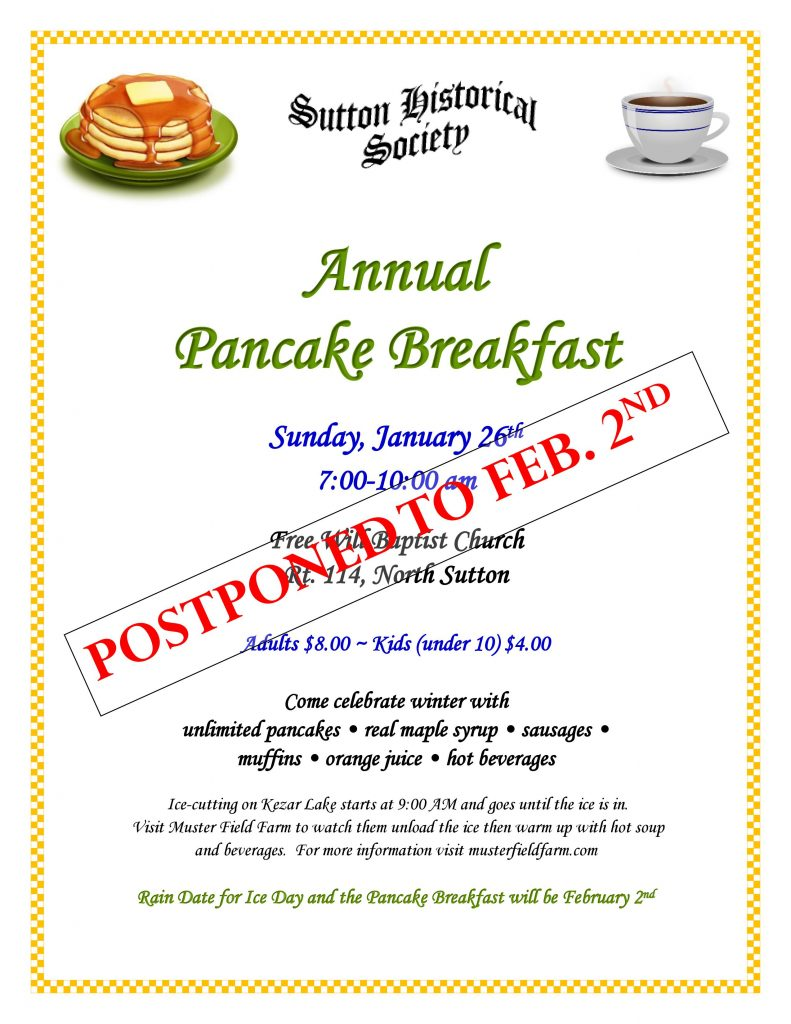 Annual Pancake Breakfast - New Date Feb 2nd @ Free Will Baptist Church | Sutton | New Hampshire | United States